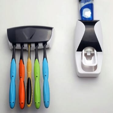 Toothpaste Dispenser & Toothbrush Holder