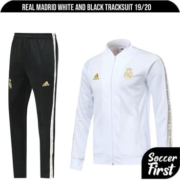 REAL MADRID WHITE AND BLACK TRACKSUIT 19/20