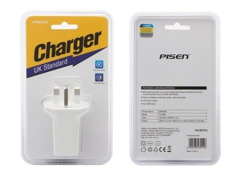 Pisen Ts-c069 Uk Standard Dual Usb Output Charger 2.4a Universal 2-port Usb