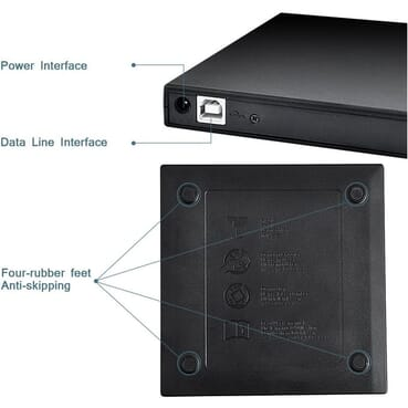 USB 2.0 Protable External CD-RW Drive DVD-RW Burner Writer Player