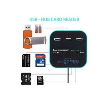 USB Hub Card Reader 2.0 Combo With 3 USB Ports For Charging & High Speed Reading+1 Free Gift USB Keyboard Light.
