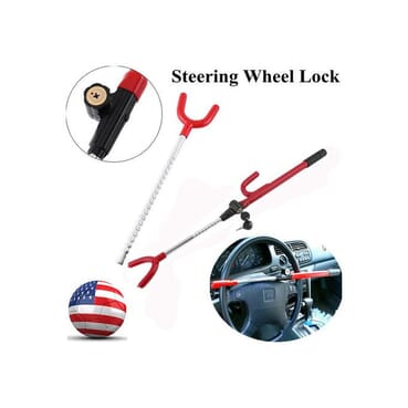 Car Steering Wheel Lock/Car Lock/Universal Anti-Theft Auto Steering Wheel Security Lock For Cars,Pickup Trucks, Minivans & SUVs Plus 4pieces of Any Color Decorative Aluminum Car Tyre Valve Cover.