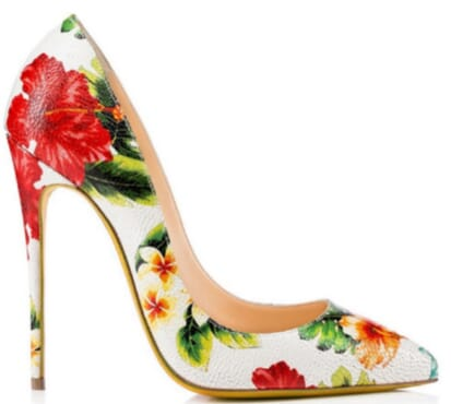 luxury leather high heel stilettos with flowery design