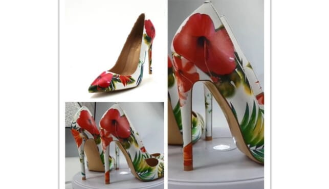 luxury leather high heel stilettos with flowery design