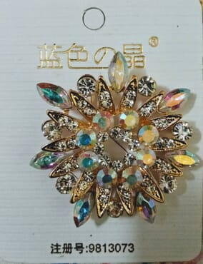 Gold with Crystals Brooch