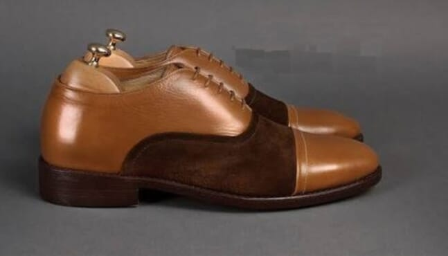Wide Fit Oxford Shoes In Tan Leather an suede