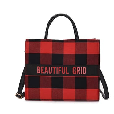 Women's Handbag Plaid Letter Pattern Tote Crossbody Bag