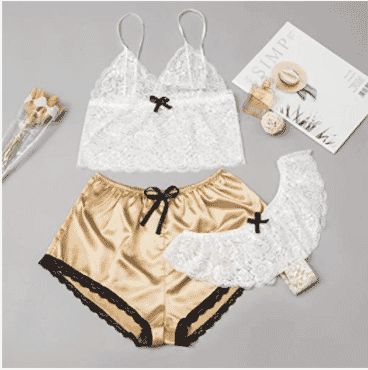 Women 3PCS Silk Pajamas Sexy Satin Lingerie Lace Shorts Set Underwear Sleepwear S-XL