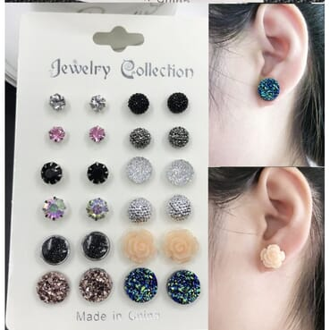 Women Elegant Earrings Jewelry Set. 12 Pairs