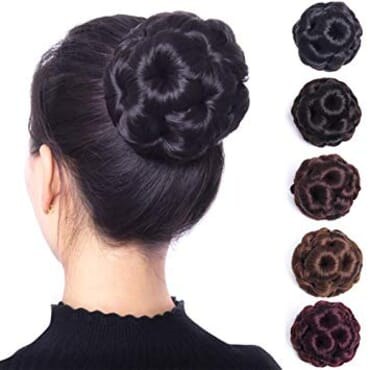 Women Flower Curly Bun Clip Hair Piece