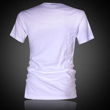 Police X.003 Extra Size Plain White Short Sleeve V-Neck T-Shirt