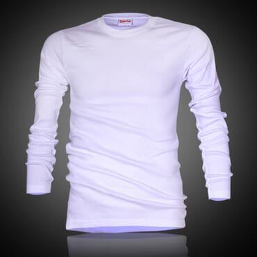 Police X.015 Extra Size Plain White Long Sleeve T-Shirt