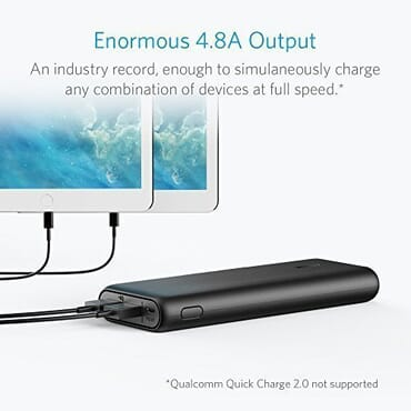 Anker PowerCore II 20000 Power Bank with 3 PowerIQ Fast- Charging Ports, 6A Output