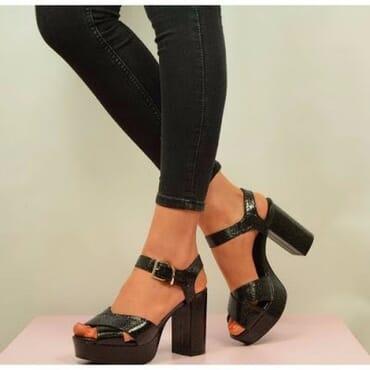 Sparkle Snake Style Block Platform High Heels