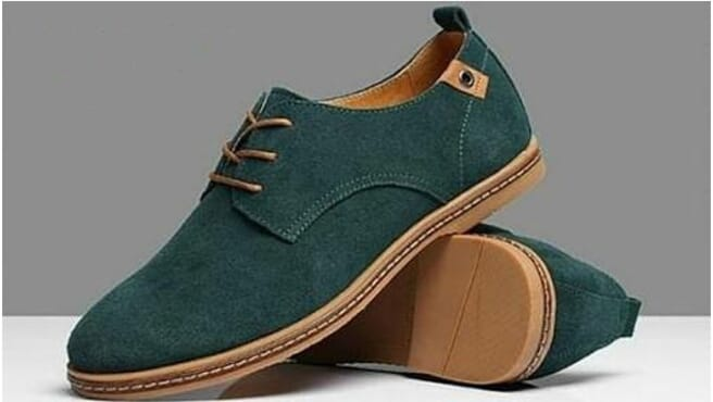 Forest green Wide Fit handmade Shoes In Stone Suede