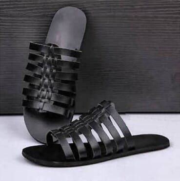 Black Multiple Strip Leather Slippers
