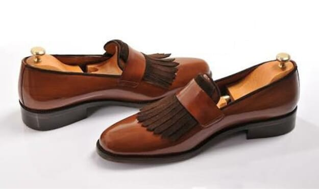 Tassel Leather Shoes in Brown