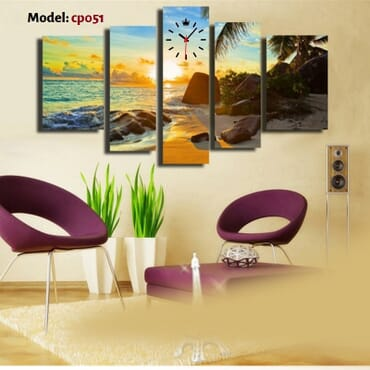 Waterfront Canvas Wall Art With Clock cp051