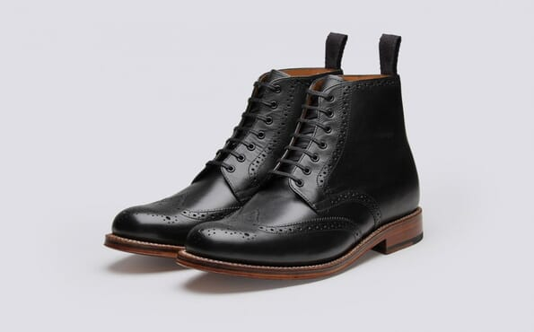 K-Choc  Hurst Leather Brogue Boots In Black