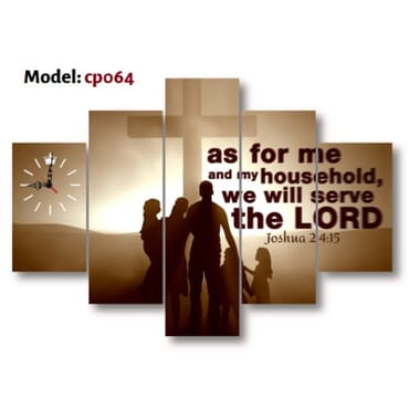 As For Me and My Household Canvas Wall Art With Clock  cp064