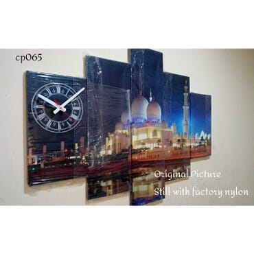 Masjid Canvas Wall Art With Clock cp065
