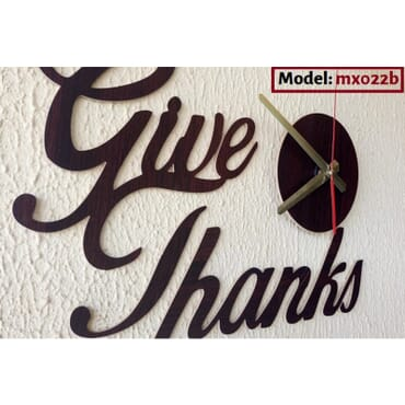 Give Thanks Wall Clock mx022