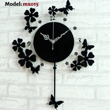 Beautiful butterfly flowers DIY wall clock mx015
