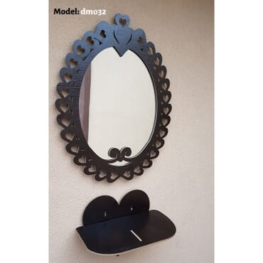 Love Wall Mirror with heart shelf dm032bx