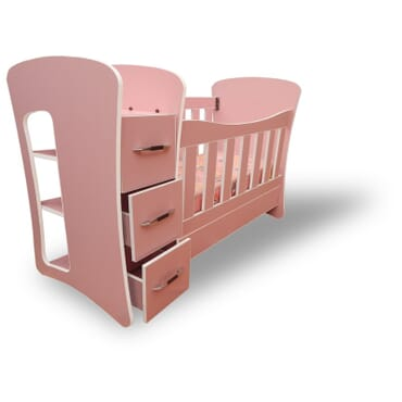 Passion baby cot with shelf drawers and removable sides. fx044pw