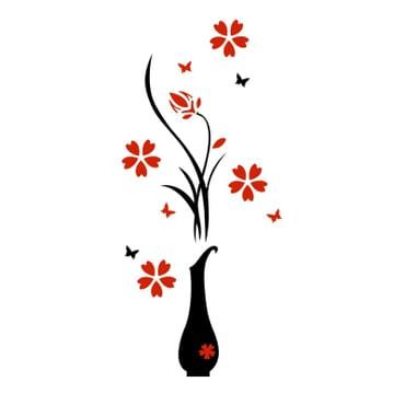 3D Plum Flower Vase Wall Decor mx103kr
