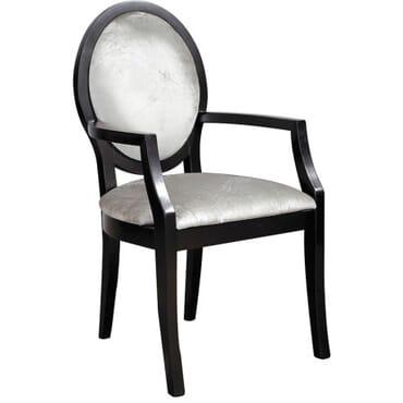 Black/Silver Velvet Oval Back Carver