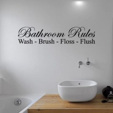 Bathroom Rules - Wash - Brush - Flush DN058