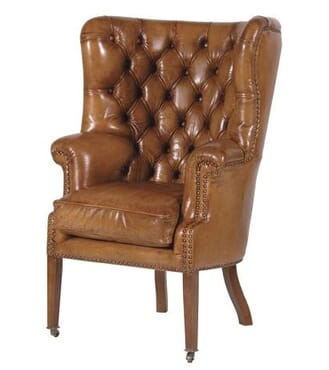 Italian Leather Buttoned Armchair