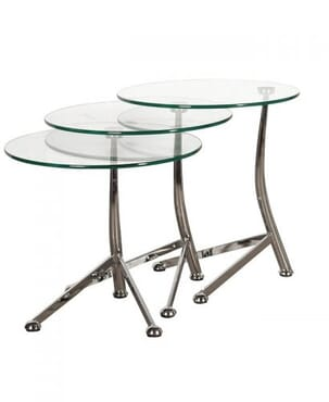 Nest Of 3 Round Glass Tables