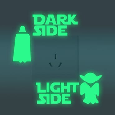 Dark Side - Light side - Luminous - Glow in the dark wall decal SC05