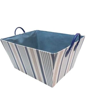 Blue StripedTapered Fabric Storage with Handles