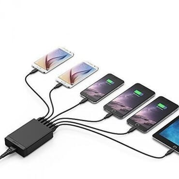 Anker Power 60W 6-Port USB Charging Hub + 6-Pack 1Ft Cord