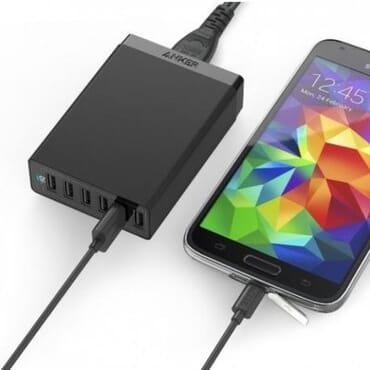 Anker Power 60W 6-Port USB Charging Hub + 6-Pack 1Ft Cord