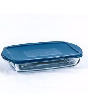 Glass Rectangular Dish with Lid