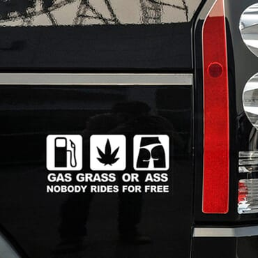 Gass, grass or ass car decal white CR06-W