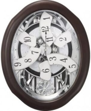 RHYTHM MAGIC MOTION WOODEN WALL CLOCK