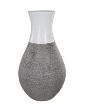 Scratched Silver and White Vase 45cm