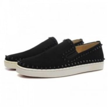 PIK BOAT BLACK SPIKE SUEDE SLIP-ON - BLACK ,Mens Sneakers