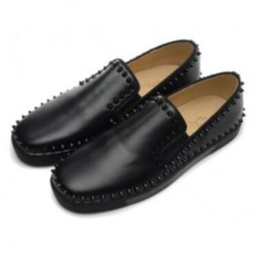 PIK BOAT BLACK SPIKED SHEEPKIN,Mens Shoes