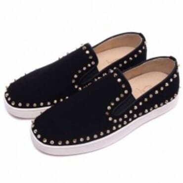 PIK BOAT SPIKES BLACK SUEDE MENS FLAT SHOE WITH GOLD CRYSTAL,Mens Sneakers