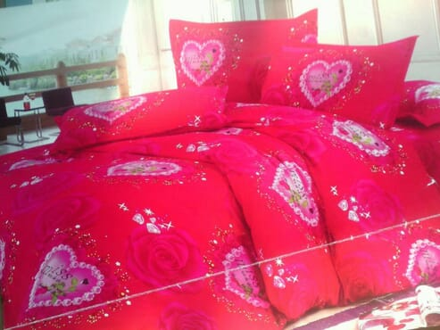 Romantic Bed sheet with Duvet and 4 Pillow Cases