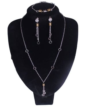 Double Drop Y-Shaped Charm Necklace, Earrings, & Bracelet