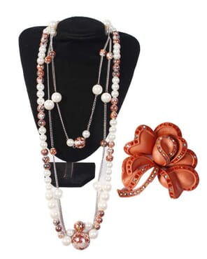 Multiple Layer Simulated Pearl Strand Long Necklace & Brooch : White/Patched Burgundy