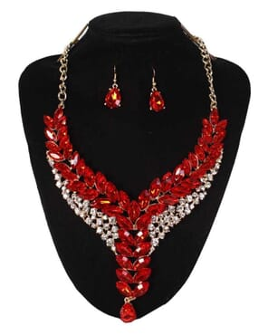 Clear Rhinestone & Beads Statement Fashion Necklace & Earrings: Red