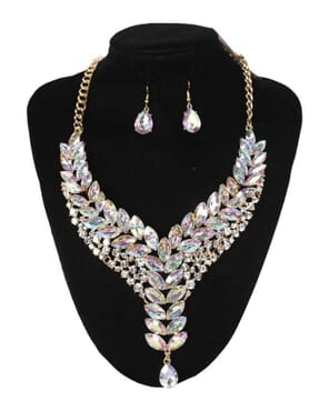 Multi Rhinestone Translucent Statement Fashion Necklace & Earrings